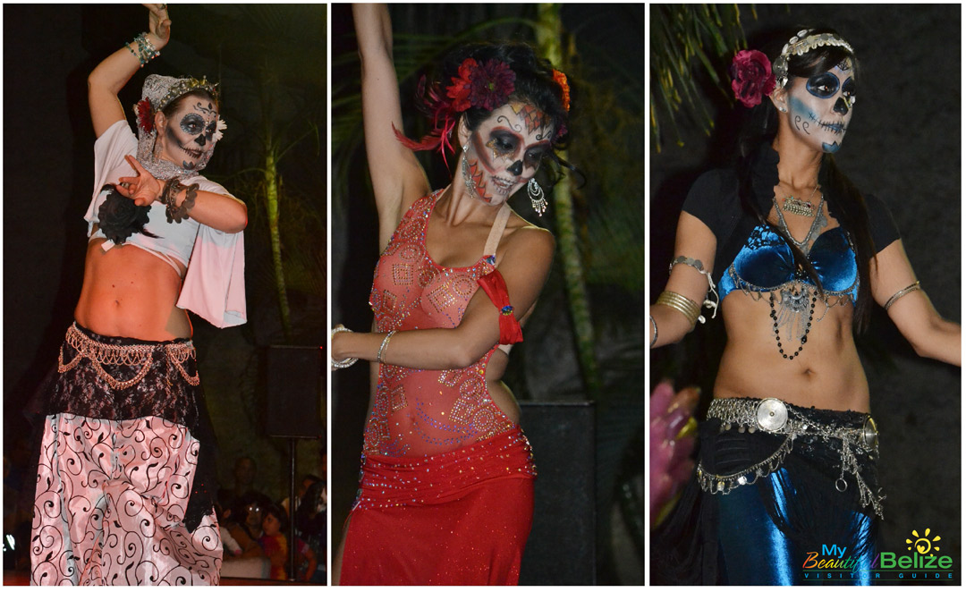 "One group of performers included ""sugar skull"" painted belly dancers."