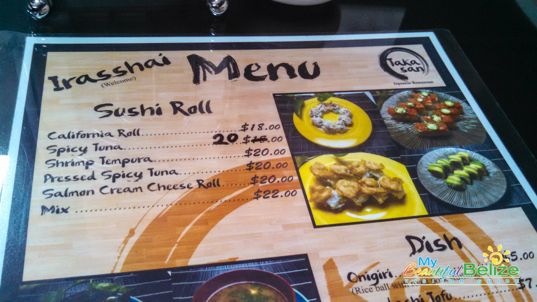 Taka Restaurant Menu