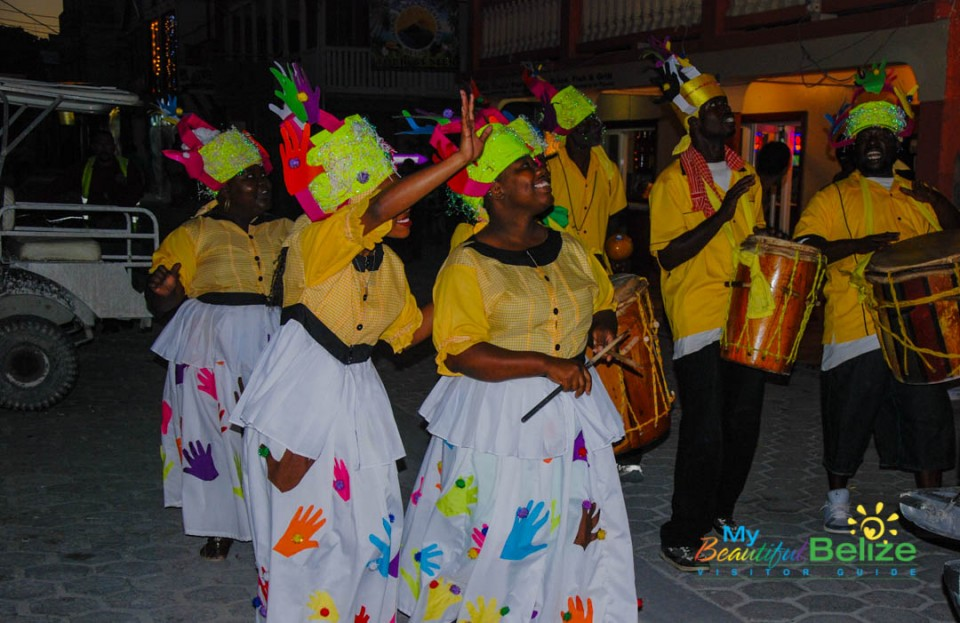 Black and White Garifuna Center Comparsa
