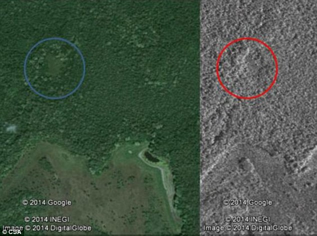 Satellite image of the alleged Maya city